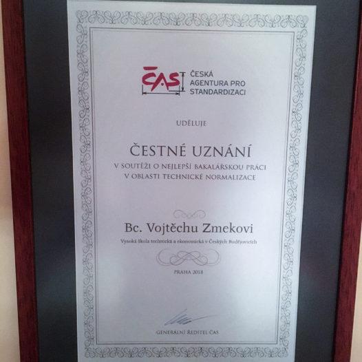 Náš student obdržel Čestné uznání České agentury pro standardizaci