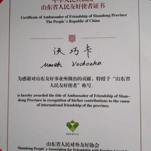 Rektor VŠTE obdržel ocenění od představitelů provincie Shandong