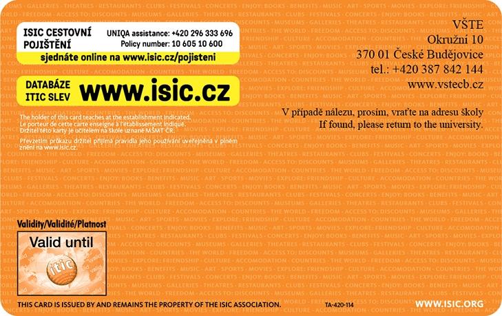 ISIC přední strana